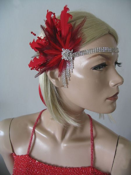 "Red Burgundy Goose Feathers Crystal Fan Headband 1920's Art Deco Gatsby Flapper ""Jules"""